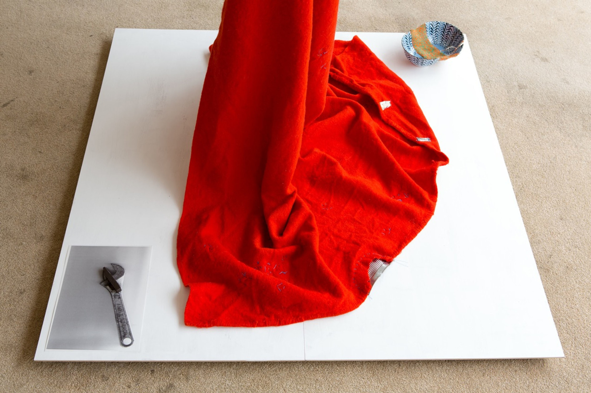 Bridget Harvey Red Blanket, Blue Bowl, Wrench